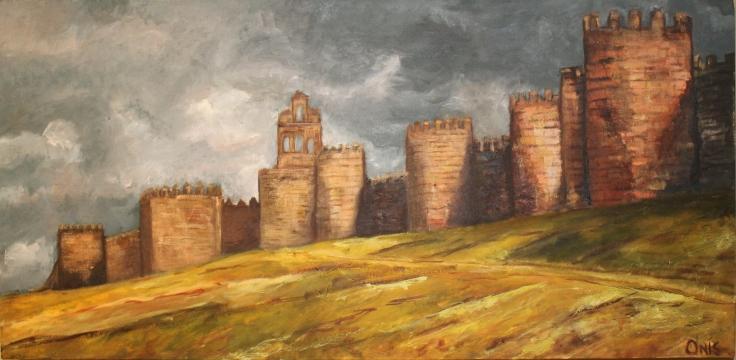 """City of Stones and SaintsOil on Canvas, 16.5"""" x 34""""© 2013 Teresa de Onis"""