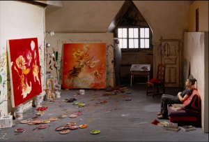 Inka Essenhigh in her studio.  Photograph of a sculpture by Joe Fig.