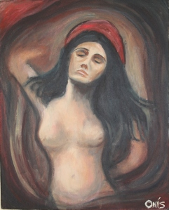 "Study of Edvard Munch's 'Madonna', Oil on Canvas 16"" x 20"""