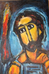 "Study of Georges Rouault's Head of Christ, oil on canvas, 36"" x 24"""