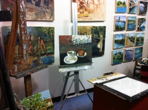 Working on The Bike Cafe in Michael's studio