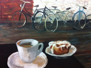 "The Bike Cafe, Oil on Canvas 20"" x 16"""