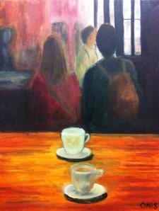 """Turistas en Madrid, Oil on Canvas 16"""" x 20"""""""