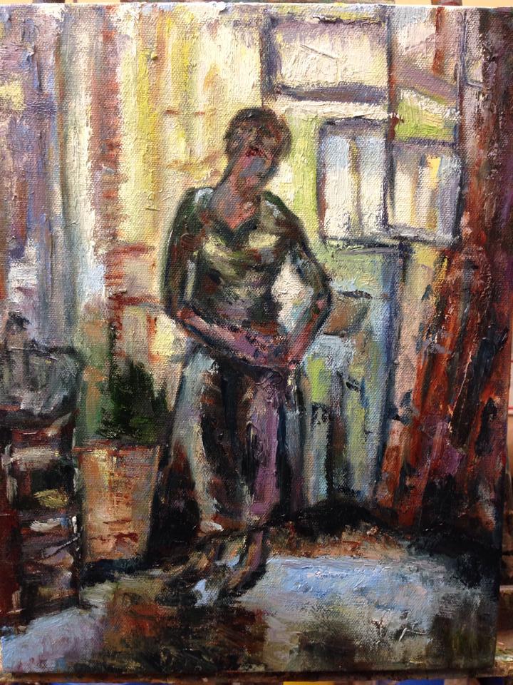 """Johanna Fixing her Skirt, oil on canvas, 8"""" x 10"""""""