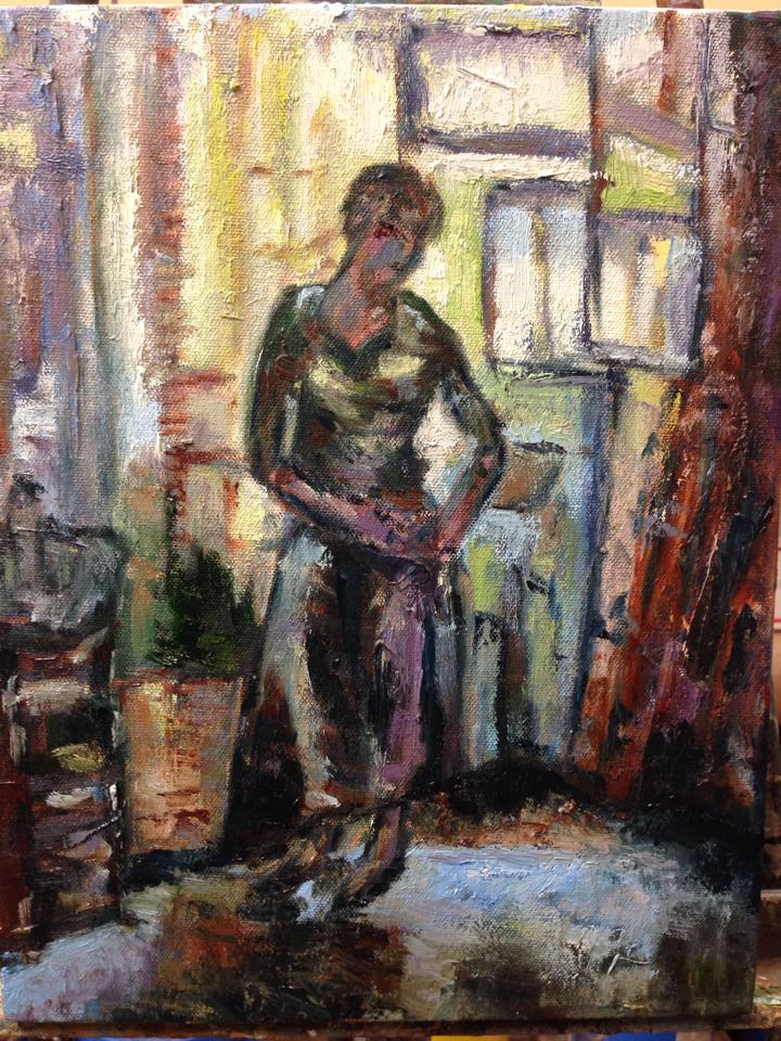 "Johanna Fixing her Skirt, oil on canvas, 8"" x 10"""